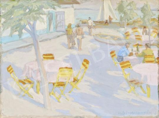 Eladó  Csáki-Maronyák József - Balaton-part vitorlásokkal festménye