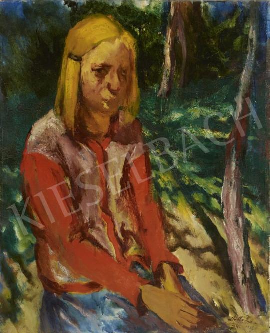 Eladó  Holló László - Vörös inges lány kertben festménye
