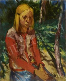 Holló, László - Girl in a Red Blouse