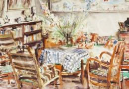Diósy, Antal (Dióssy Antal) - Living Room with a Flower Bouquet (1957)
