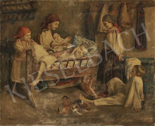 Eladó Koszkol Jenő - Nagymama unokáival festménye