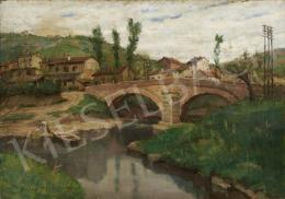 Áldor, János László - River with a Bridge