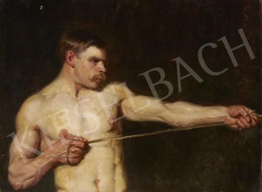 Ismeretlen festő - Kötélhúzó festménye