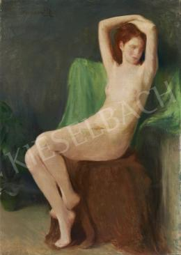 Benkhard, Ágost - Nude with Green Backround
