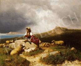 Markó András - Pásztorlány itáliai tengerparton