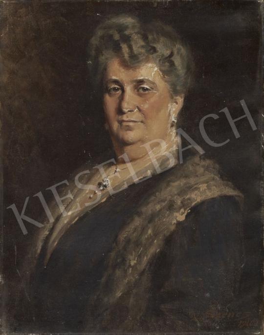 Szenes Fülöp - Hölgy prémgalléros ruhában festménye