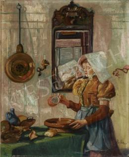 Signed Keller - Girl pouring Milk (Hommage a Vermeer)