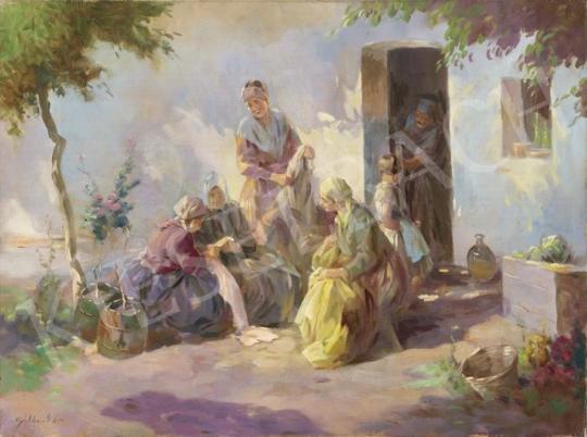 Eladó  Gebhardt István - Napsütéses udvaron (Beszélgetők) festménye