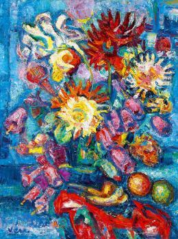 Vén Emil - Műtermi csendélet gyümölcsökkel és virágokkal