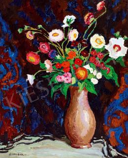 Balla Béla - Műtermi csendélet virágcsokorral, mintás drapériával