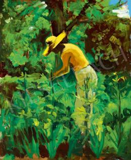 Tibor, Ernő - In the Sunny Garden (Gardener with Straw Hat)