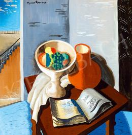 Bene, Géza - Studio Still-life with Book, Fruit Bowl, with the Blue Sky in the Background, 1929