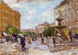 Berkes Antal - A Kálvin tér háttérben a Nemzeti Múzeummal, 1917
