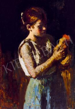 Koszta József - Lány kakassal