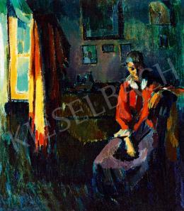 Nagy Oszkár - A piros kabát (Modell a művész nagybányai műtermében)