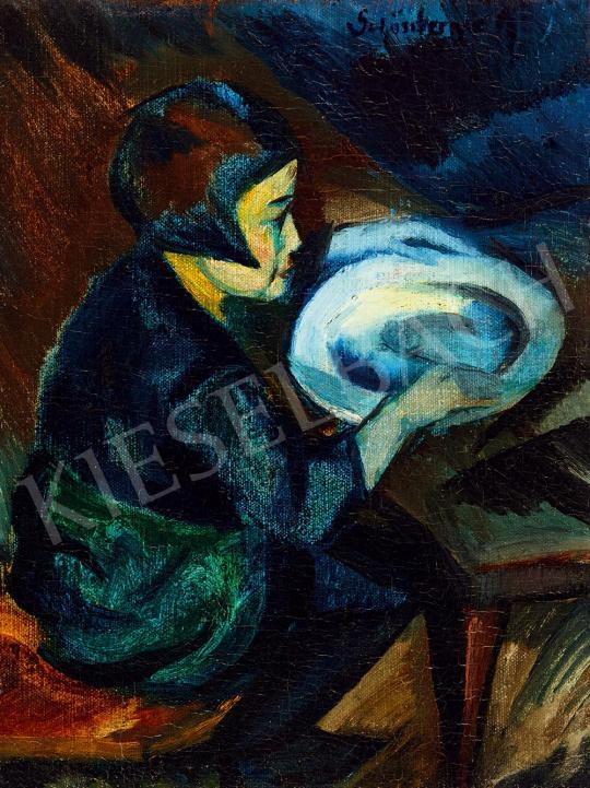 Schönberger Armand - Kislány tányérral | 52. Tavaszi Aukció aukció / 88 tétel