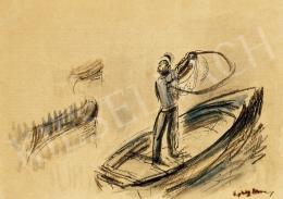 Egry József - Hálót vető     balatoni halász