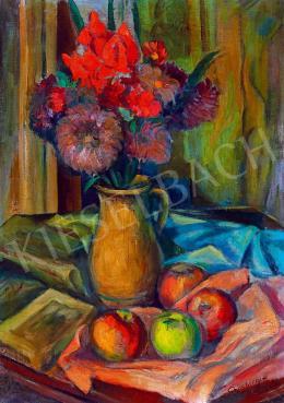Schönberger Armand - Csendélet könyvvel és almákkal