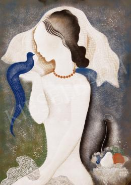 Kádár Béla - Korall-nyakláncos leány kék madárral