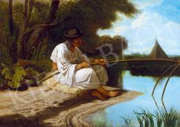 Lotz Károly - Vízparton (Halász), 1860 körül