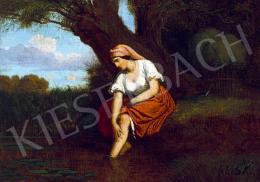 Lotz Károly - Lány a patakparton, 1860 körül