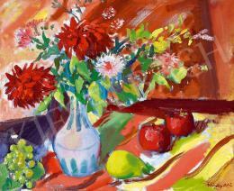 Márffy Ödön - Csendélet virágokkal, szőlővel, almával