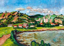 Balla Béla - Vízparti táj dombokkal, házakkal