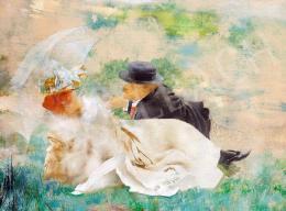 Karlovszky Bertalan - Udvarlás (Párizs), 1890 körül