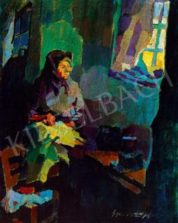 Nagy, Oszkár - The Artist's Mother in the Studio in Nagybánya