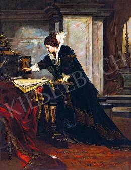 Liezen-Mayer Sándor - Erzsébet királynő aláírja Stuart Mária halálos ítéletét, 1879