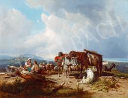 Markó, András - Italian Landscape with a Resting Family, 1860