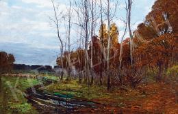 Bosznay István - Őszi erdőszéle bárányokkal, 1898