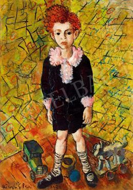 Peterdi Gábor - Kisfiú csíkos zokniban