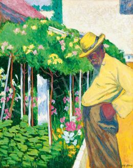 Götz Béla Ernő - Virágoskertben (A kertész), 1910 körül