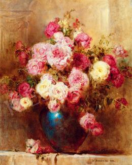 Dolányi Benczúr Ida - Nagy rózsás csendélet eozin vázában, 1944