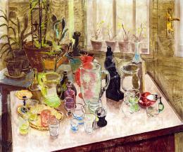 Biai-Föglein István - Csendélet színes üvegekkel, 1937