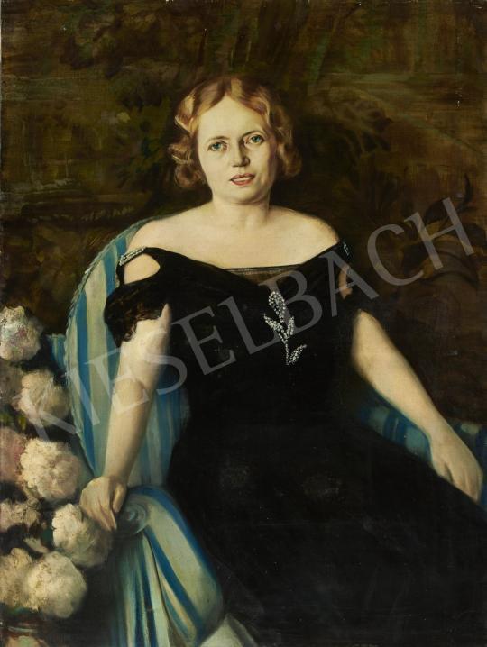 Eladó  Lukács Gyula - Hölgy kék-fehér csíkos fotelben festménye