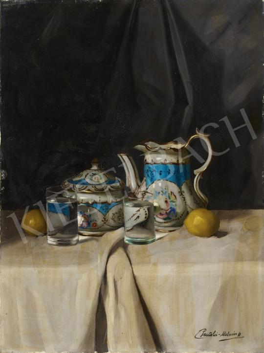 Eladó Pentelei Molnár János - Csendélet porcelánnal, vizespohárral festménye