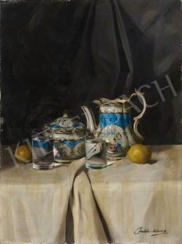 Pentelei Molnár János - Csendélet porcelánnal, vizespohárral