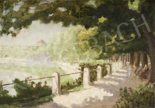 Eladó  Kopits János - Napsütötte sétány, 1930 körül festménye