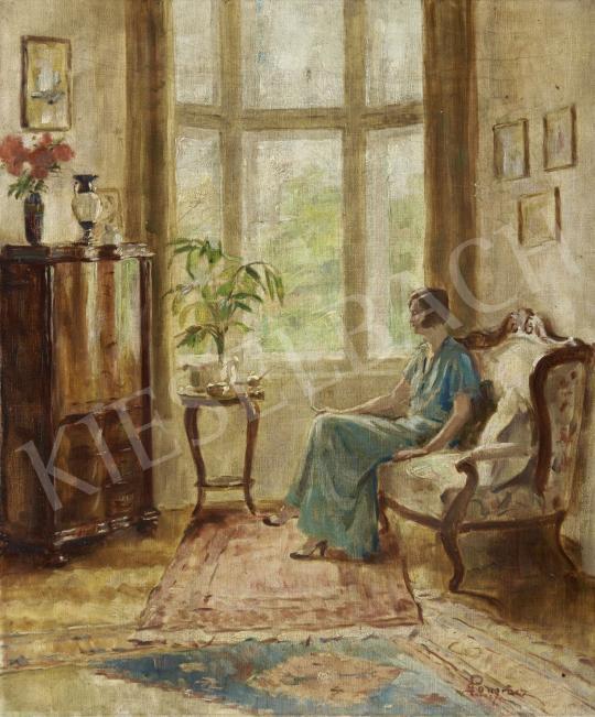 Pongrácz Károly - Cigarettázó nő, 1930 körül festménye
