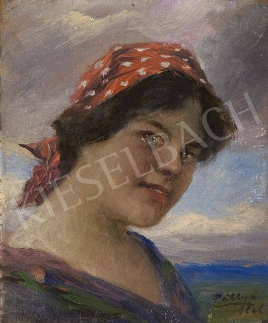 For sale Pállya, Celesztin - Girl with a Red Kerchief, c. 1930 's painting