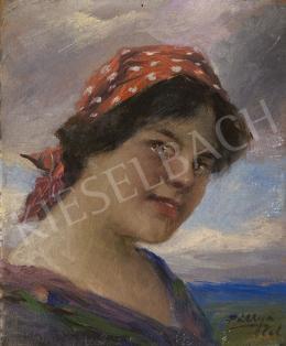 Pállya Celesztin - Piroskendős lány, 1930 körül