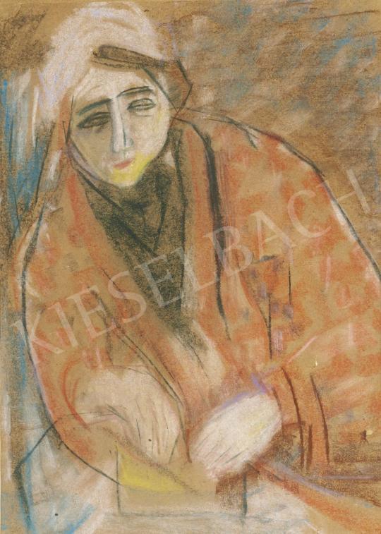 Vajda Júlia - Nő piros kabátban, 1946 festménye