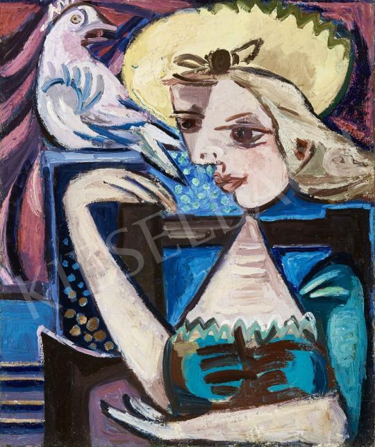 Eladó Zemplényi Magda - Lány galambbal (Hommage a Picasso), 1940-es évek festménye