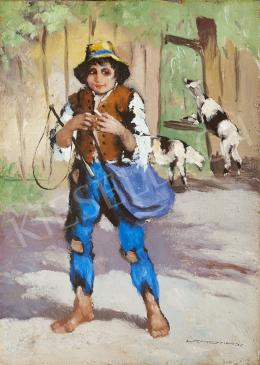 Signed Lehotay - Boy with a Haversack, c. 1930