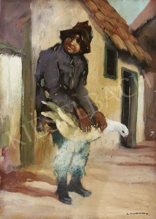 Eladó  Lehotay jelzéssel - Fiú libával, 1930 körül festménye