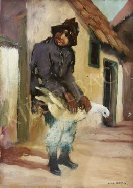Signed Lehotay - Boy with a Goose, c. 1930