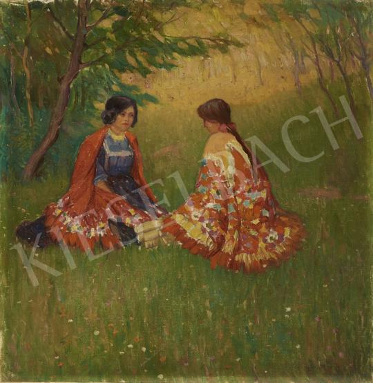 Eladó Ismeretlen magyar festő - Szabadban, 1910-es évek festménye