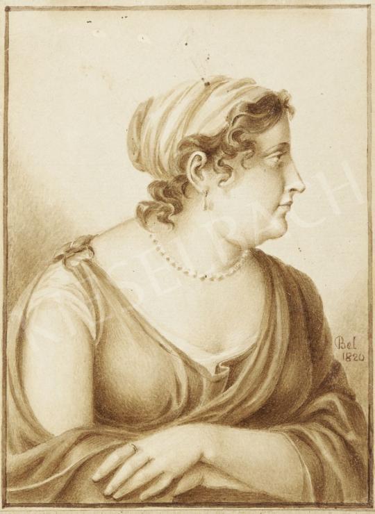 Eladó  Bel jelzéssel - Női portré gyöngysorral, 1820 festménye